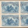 1c deep blue Columbus in sight of land block of four
