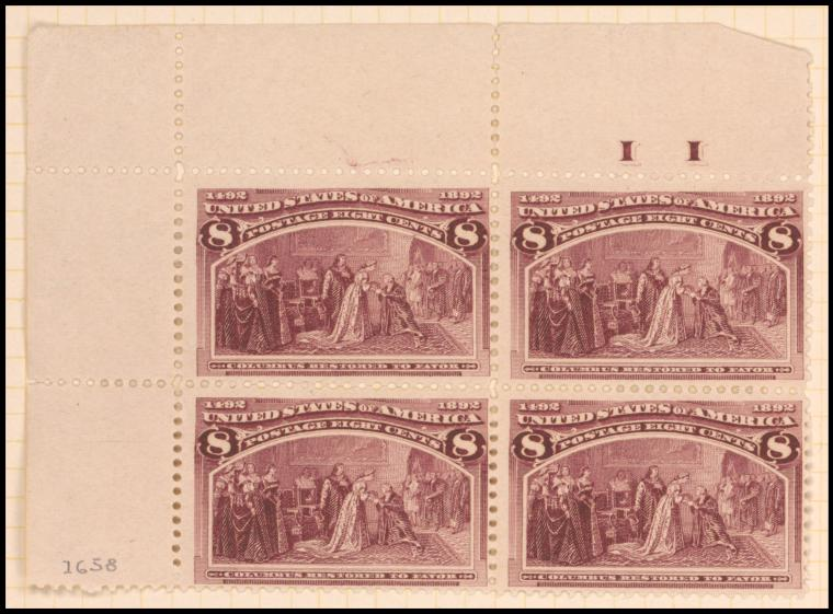 8c magenta Columbus Restored to Favor block of four