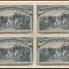 50c slate blue Recall of Columbus block of four