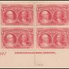 $4 crimson lake Queen Isabella & Columbus plate number and imprint block of four