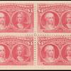 $4 crimson lake Queen Isabella & Columbus block of four
