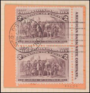 2c brown violet Landing of Columbus imperforate pair