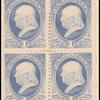 1c gray blue Franklin block of four