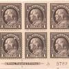 $1 violet brown Franklin block of six