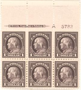 $1 violet black Franklin block of six