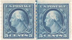 5c blue Washington pair