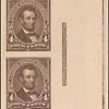 4c dark brown Lincoln proof strip of four