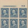1c blue Franklin proof block of six