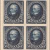 15c dark blue Clay proof block of four