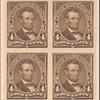 4c dark brown Lincoln proof block of four