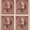 8c violet brown Sherman proof block of four