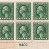 1c gray green Washington block of six