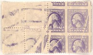 3c purple Washington block of eight error
