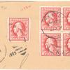 2c carmine rose Washington block of four and single on piece