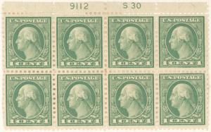 1c green Washington block of eight
