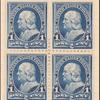1c blue Franklin block of four