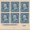 1c blue Franklin block of six