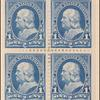 1c blue Franklin block of four