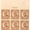 1 1/2c yellow brown Warren G. Harding block of six