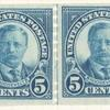5c dark blue Theodore Roosevelt strip of four