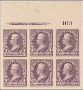 3c purple Jackson block of six