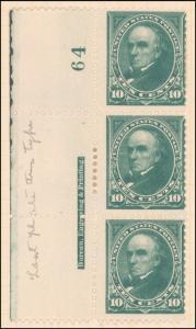 10c dark green Webster strip of three
