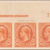 50c orange Jefferson strip of three