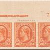 50c orange Jefferson strip of three