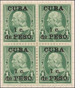 1c deep green Franklin block of four