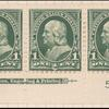 1c deep green Franklin strip of three