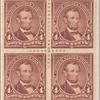 4c rose brown Lincoln block of four