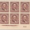4c rose brown Lincoln block of six