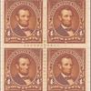 4c orange brown Lincoln block of four