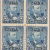 5c dark blue Grant block of four