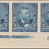 5c dark blue Grant strip of three