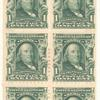 1c blue green Franklin booklet pane of six