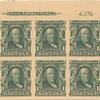 1c blue green Franklin block of six