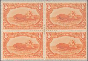 4c orange Indian Hunting Buffalo block of four