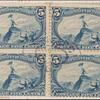 5c dull blue John Charles Fremont on the Rocky Mountains block of four