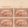 $2 orange brown Mississippi River Bridge block of four