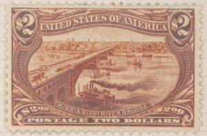 $2 orange brown Mississippi River Bridge single