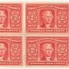 2c carmine Thomas Jefferson block of four