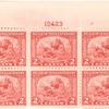 2c carmine rose Landing of the Pilgrims block of six