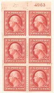 2c carmine Washington booklet pane of six