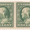 1c green Franklin horizontal imperf pair