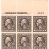 $1 violet brown Washington block of six