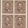 4c dark brown Lincoln block of four