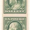 1c green Franklin vertical strip of four