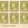 8c pale olive green Franklin block of six