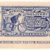 10c ultramarine Messenger on Bicycle strip of three